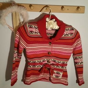 Gymboree Size 5 Pink Red Striped Belted Sweater